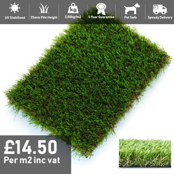 magestic artificial grass 35mm pile height 2